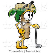 Illustration of a Cartoon Palm Tree Mascot Leaning on a Golf Club While Golfing by Toons4Biz