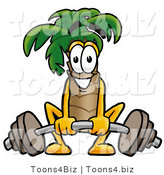Illustration of a Cartoon Palm Tree Mascot Lifting a Heavy Barbell by Toons4Biz