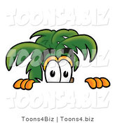 Illustration of a Cartoon Palm Tree Mascot Peeking over a Surface by Toons4Biz
