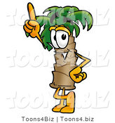 Illustration of a Cartoon Palm Tree Mascot Pointing Upwards by Toons4Biz