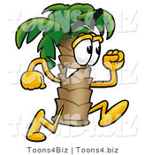 Illustration of a Cartoon Palm Tree Mascot Running by Toons4Biz