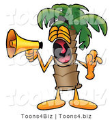 Illustration of a Cartoon Palm Tree Mascot Screaming into a Megaphone by Toons4Biz