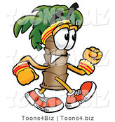 Illustration of a Cartoon Palm Tree Mascot Speed Walking or Jogging by Toons4Biz