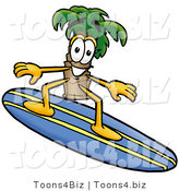 Illustration of a Cartoon Palm Tree Mascot Surfing on a Blue and Yellow Surfboard by Toons4Biz