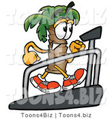 Illustration of a Cartoon Palm Tree Mascot Walking on a Treadmill in a Fitness Gym by Toons4Biz