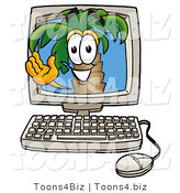 Illustration of a Cartoon Palm Tree Mascot Waving from Inside a Computer Screen by Toons4Biz