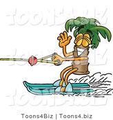 Illustration of a Cartoon Palm Tree Mascot Waving While Water Skiing by Toons4Biz