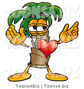 Illustration of a Cartoon Palm Tree Mascot with His Heart Beating out of His Chest by Toons4Biz