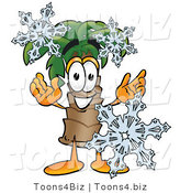 Illustration of a Cartoon Palm Tree Mascot with Three Snowflakes in Winter by Toons4Biz