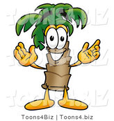 Illustration of a Cartoon Palm Tree Mascot with Welcoming Open Arms by Toons4Biz
