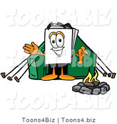 Illustration of a Cartoon Paper Mascot Camping with a Tent and Fire by Toons4Biz