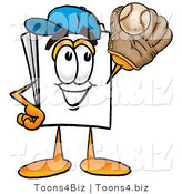 Illustration of a Cartoon Paper Mascot Catching a Baseball with a Glove by Toons4Biz