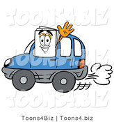 Illustration of a Cartoon Paper Mascot Driving a Blue Car and Waving by Toons4Biz