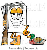 Illustration of a Cartoon Paper Mascot Duck Hunting, Standing with a Rifle and Duck by Toons4Biz