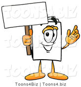 Illustration of a Cartoon Paper Mascot Holding a Blank Sign by Toons4Biz