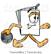 Illustration of a Cartoon Paper Mascot Holding a Bowling Ball by Toons4Biz