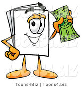 Illustration of a Cartoon Paper Mascot Holding a Dollar Bill by Toons4Biz