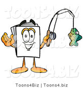Illustration of a Cartoon Paper Mascot Holding a Fish on a Fishing Pole by Toons4Biz