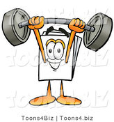 Illustration of a Cartoon Paper Mascot Holding a Heavy Barbell Above His Head by Toons4Biz