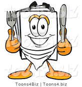 Illustration of a Cartoon Paper Mascot Holding a Knife and Fork by Toons4Biz