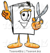 Illustration of a Cartoon Paper Mascot Holding a Pair of Scissors by Toons4Biz