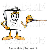 Illustration of a Cartoon Paper Mascot Holding a Pointer Stick by Toons4Biz