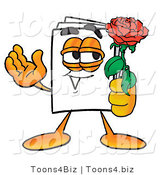 Illustration of a Cartoon Paper Mascot Holding a Red Rose on Valentines Day by Toons4Biz