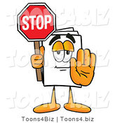 Illustration of a Cartoon Paper Mascot Holding a Stop Sign by Toons4Biz