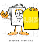 Illustration of a Cartoon Paper Mascot Holding a Yellow Sales Price Tag by Toons4Biz