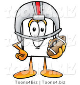 Illustration of a Cartoon Paper Mascot in a Helmet, Holding a Football by Toons4Biz
