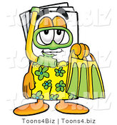 Illustration of a Cartoon Paper Mascot in Green and Yellow Snorkel Gear by Toons4Biz