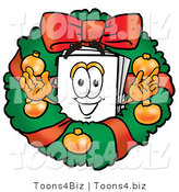 Illustration of a Cartoon Paper Mascot in the Center of a Christmas Wreath by Toons4Biz