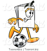 Illustration of a Cartoon Paper Mascot Kicking a Soccer Ball by Toons4Biz