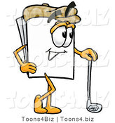 Illustration of a Cartoon Paper Mascot Leaning on a Golf Club While Golfing by Toons4Biz