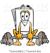 Illustration of a Cartoon Paper Mascot Lifting a Heavy Barbell by Toons4Biz