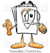 Illustration of a Cartoon Paper Mascot Looking Through a Magnifying Glass by Toons4Biz