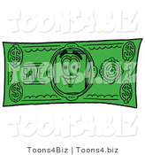 Illustration of a Cartoon Paper Mascot on a Dollar Bill by Toons4Biz