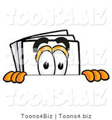 Illustration of a Cartoon Paper Mascot Peeking over a Surface by Toons4Biz