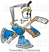 Illustration of a Cartoon Paper Mascot Playing Ice Hockey by Toons4Biz