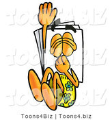 Illustration of a Cartoon Paper Mascot Plugging His Nose While Jumping into Water by Toons4Biz