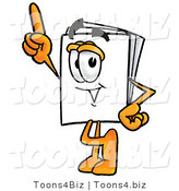 Illustration of a Cartoon Paper Mascot Pointing Upwards by Toons4Biz