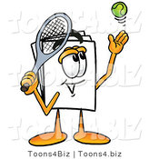 Illustration of a Cartoon Paper Mascot Preparing to Hit a Tennis Ball by Toons4Biz