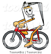 Illustration of a Cartoon Paper Mascot Riding a Bicycle by Toons4Biz