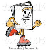 Illustration of a Cartoon Paper Mascot Roller Blading on Inline Skates by Toons4Biz