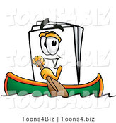 Illustration of a Cartoon Paper Mascot Rowing a Boat by Toons4Biz