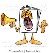 Illustration of a Cartoon Paper Mascot Screaming into a Megaphone by Toons4Biz