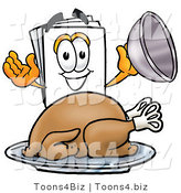 Illustration of a Cartoon Paper Mascot Serving a Thanksgiving Turkey on a Platter by Toons4Biz