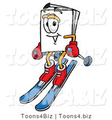 Illustration of a Cartoon Paper Mascot Skiing Downhill by Toons4Biz