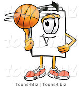 Illustration of a Cartoon Paper Mascot Spinning a Basketball on His Finger by Toons4Biz