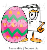 Illustration of a Cartoon Paper Mascot Standing Beside an Easter Egg by Toons4Biz